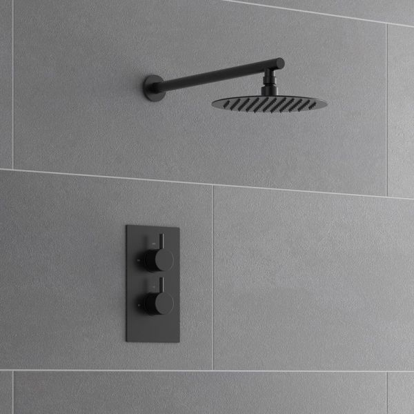 Nero Thermostatic Concealed Shower with Fixed Overhead Drencher - Black