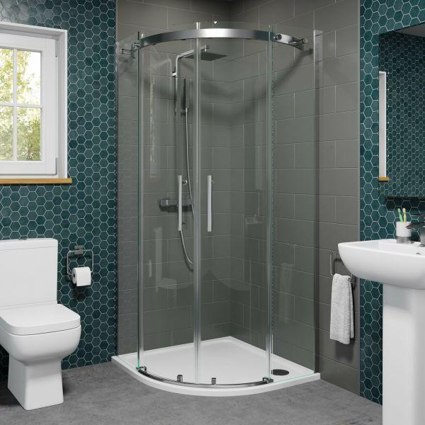Vision 8mm 900mm Frameless Sliding Quadrant Shower Enclosure