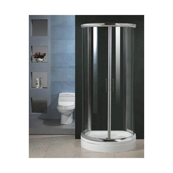 900 x 770mm D Shape Shower Enclosure Inc High Profile Tray