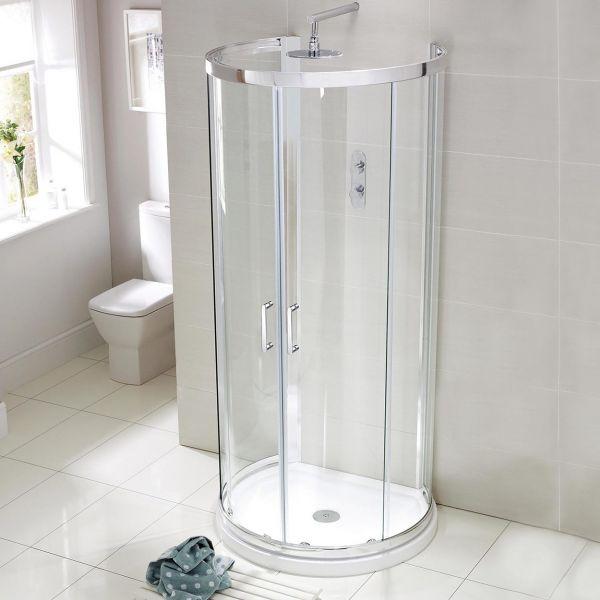 900x770 D-Shape Shower Enclosure Inc Tray