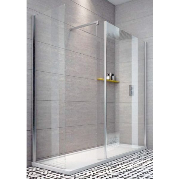 Indi 1600 x 900 10mm Walk In Shower Enclosure Inc Tray And Waste
