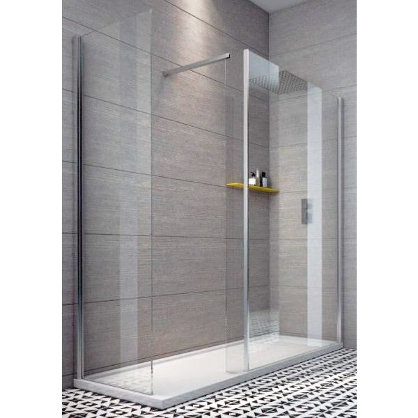 Indi 1400 x 800 10mm Walk In Shower Enclosure Inc Tray and Waste