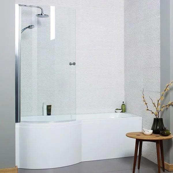 Left Hand Contemporary Round P-Shape 1700mm Shower Bath Inc Bath Screen