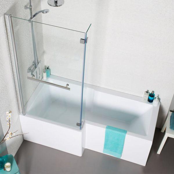 Left Hand Contemporary Square L-Shape 1700mm Shower Bath Inc Bath Screen