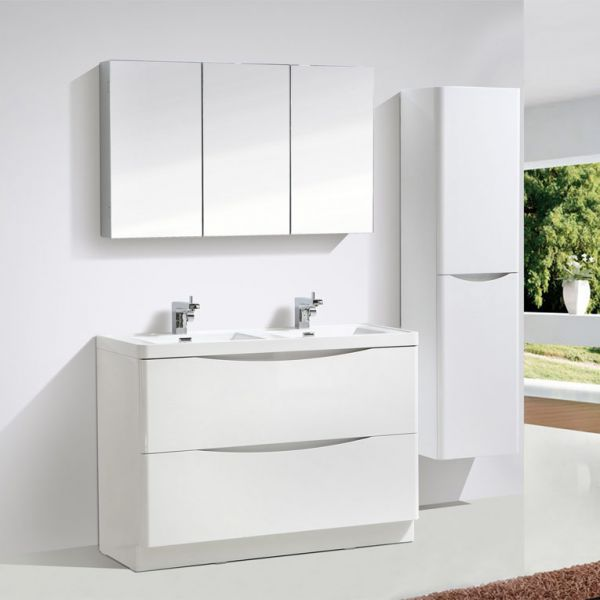 Motiv 1200mm Gloss White Floor Standing Double Basin Vanity Unit