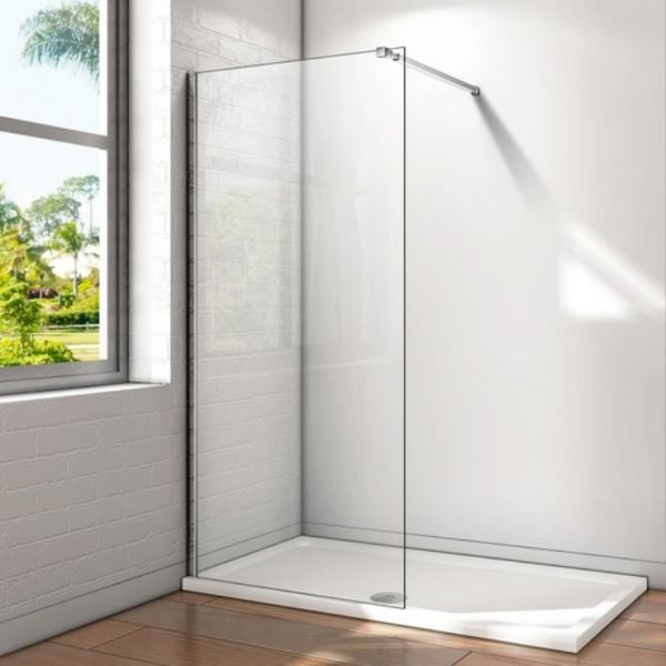 Wetroom Panel Clear 8mm Glass Panel 700mm