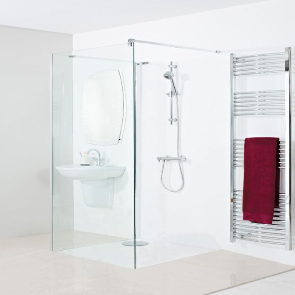 One Wall Walk In Shower Enclosure 900x800