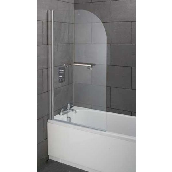 Style 800x1400 Single Curved Bath screen Inc Handle