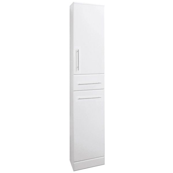 Saturn High Gloss White Tall Boy Bathroom Unit 300 Depth
