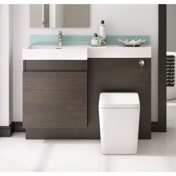 Trafalgar 1200 Double Soft Close Drawer Vanity and WC Unit in Dark Wood with Basin