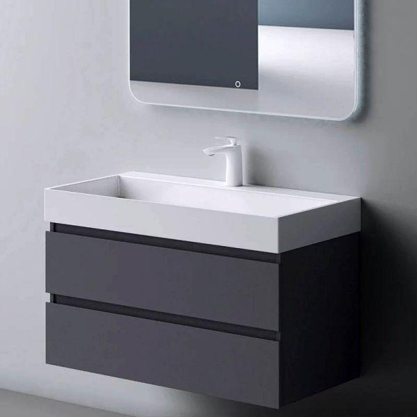 Verona 800mm Wall Hung Vanity Unit and Basin Iron Grey