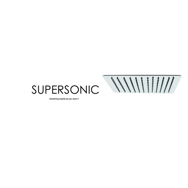 Supersonic Square Slimline Stainless Steel 300mm Shower Head