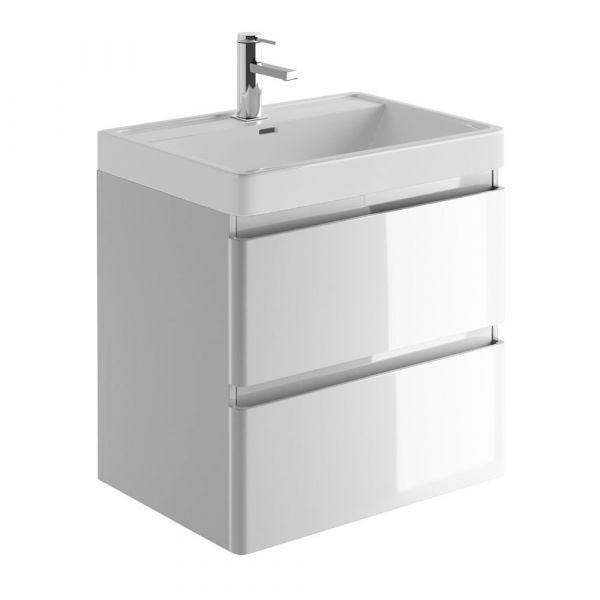 Zenit 600mm Light Grey Wall Hung Bathroom Vanity Unit inc Basin