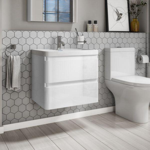 Zenit 600mm White Gloss Wall Hung Bathroom Vanity Unit inc Basin