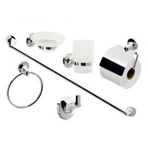 Contemporary Modern 6 Piece Chrome Bathroom Accessory Set