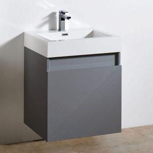 Brooklyn 600 Two Draw Soft Close Vanity Unit inc. Basin. Gloss Grey