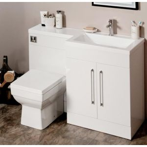 L-Shaped 1100mm Gloss White Vanity Unit and WC Combination RH