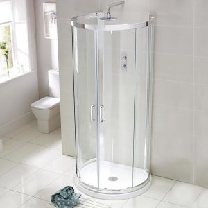 D-Shaped Shower Enclosure including Stone Resin Tray