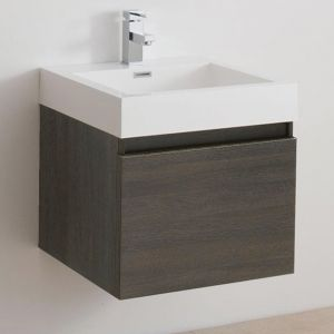 Brooklyn 600 Two Draw Soft Close Vanity Unit inc. Basin. Dark Wood
