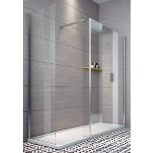 Indi 1600 x 800 8mm Walk in Shower Enclosure inc Tray and Waste