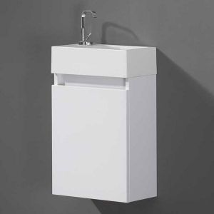 Minimo 400 Cloakroom Vanity Unit inc. Soft Closing Door inc. Basin. Gloss White