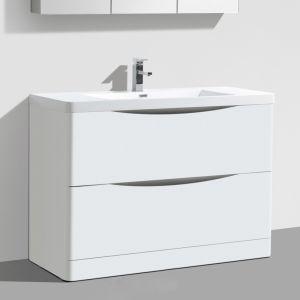 Motiv 900mm White Gloss Floor Standing Bathroom Vanity Unit inc Basin