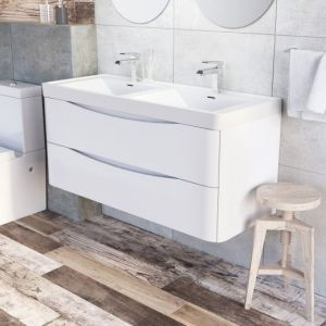 Motiv 1200mm Wall Mounted Gloss White Double Basin Vanity Unit