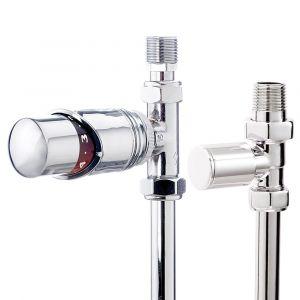 Thermostatic Chrome straight radiator valve and plain valve
