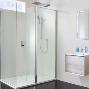 Vision 1500 x 800 10mm Hinged Walk In Shower Enclosure Inc Tray And Waste