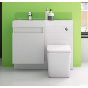 Trafalgar 1200 Double Soft Close Drawer Vanity and WC Unit in White with Basin