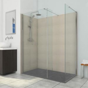 Vision 1200 x 800 10mm Hinged Walk In Shower Enclosure Inc Tray And Waste (Anthracite)