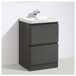 Zenit 600mm Anthracite Grey Gloss Floor Standing Vanity Unit