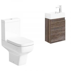 Zero Toilet with Wall Hung Dark Wood Cloarkoom Vanity